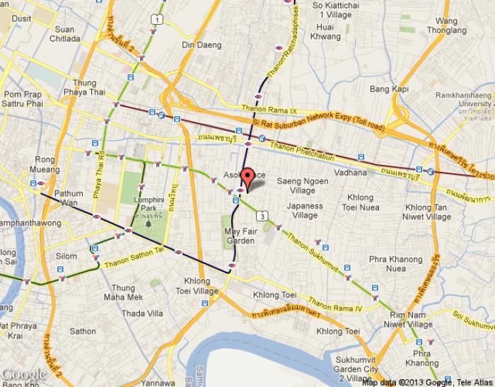 Location Map of Sukhumvit Road Bangkok, Thailand